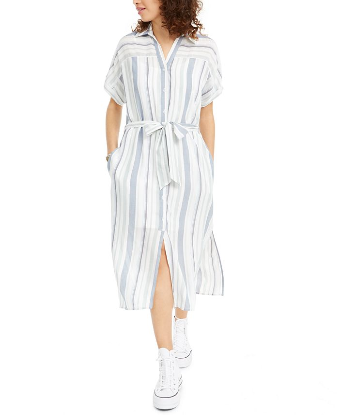 Crystal Doll - Juniors' Striped Button-Up Dress