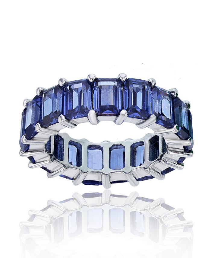 Macy's - Purple Cubic Zirconia Eternity Band in Rhodium Plated Sterling Silver