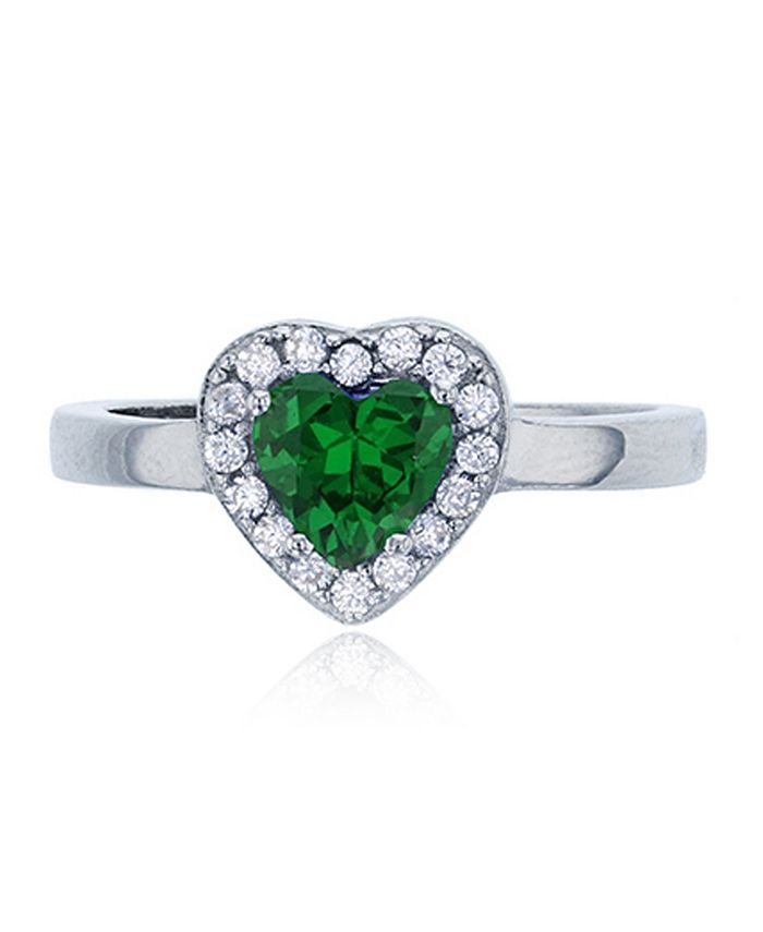 Macy's - Green Heart Cubic Zirconia Halo Ring in Rhodium Plated Sterling Silver