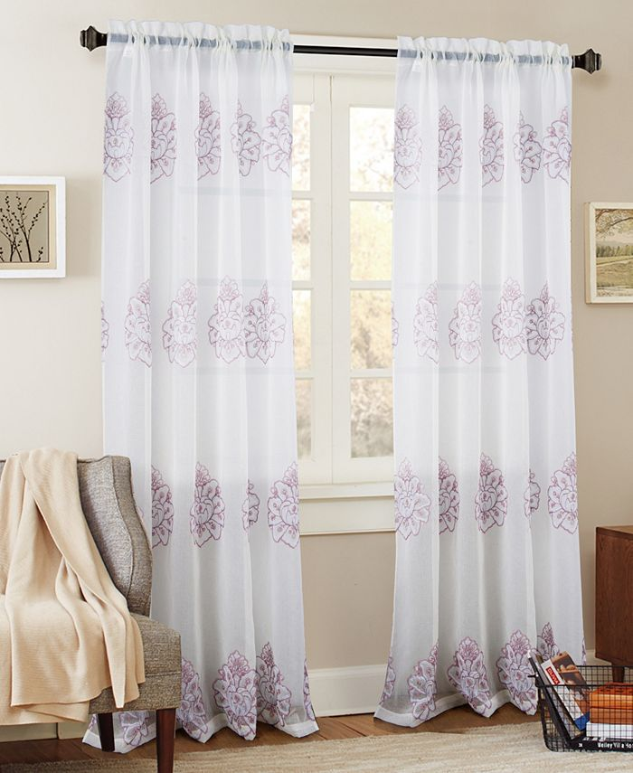 "RT Designers Collection - Bergen Floral Embroidered 54"" x 84"" Curtain Panel"