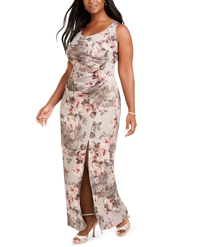 Adrianna Papell - Plus Size Floral Ruched Gown