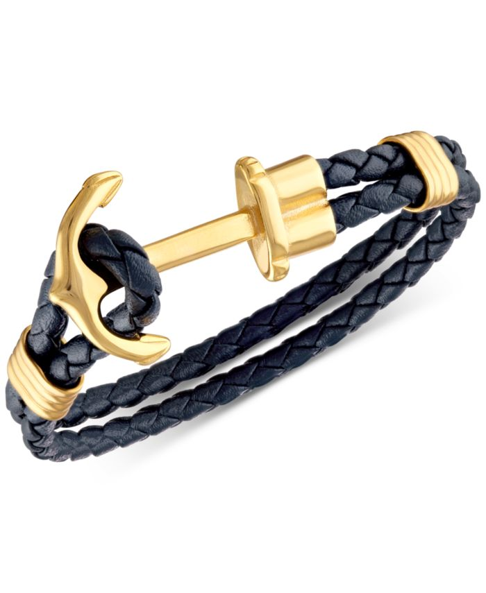 Esquire Men's Jewelry Navy Braided Leather Cord Anchor Clasp Bracelet in Yellow Ion-Plated Stainless Steel, Created for Macy's & Reviews - Bracelets - Jewelry & Watches - Macy's