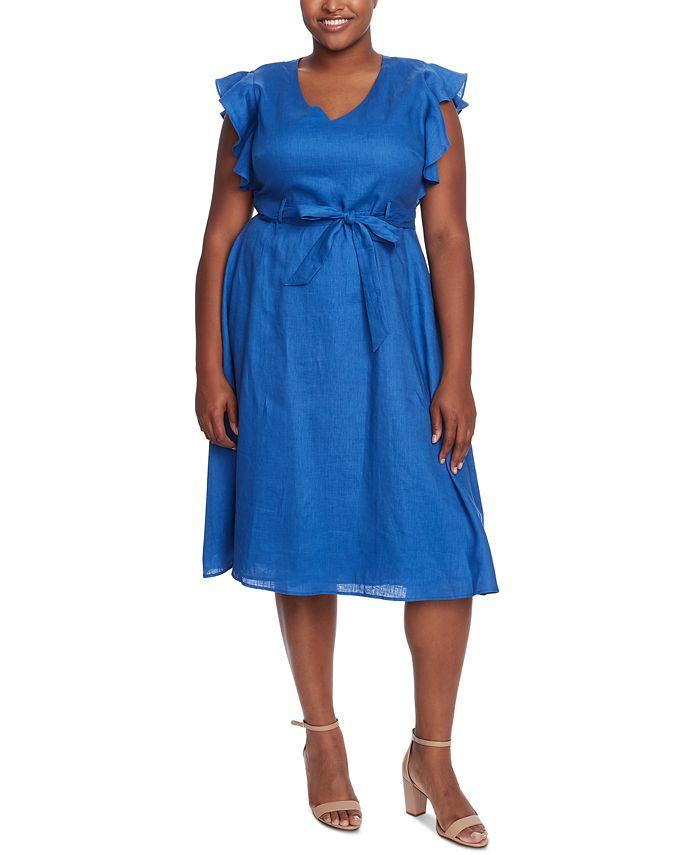 CeCe - Plus Size V-Neck Flutter-Sleeve Dress