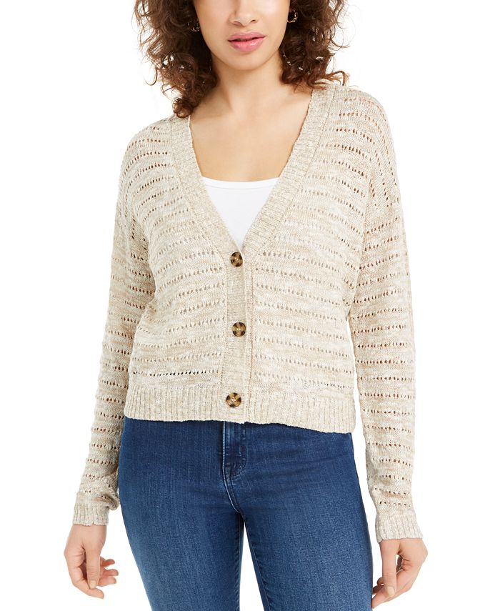 Hooked Up by IOT - Juniors' Button-Front Cardigan