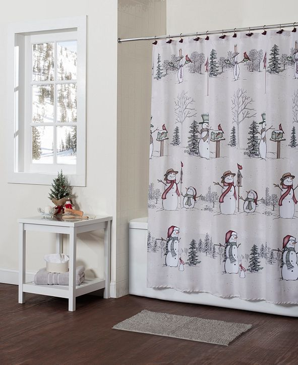 SKL Home Snowman Land Shower Curtain with Hook Set