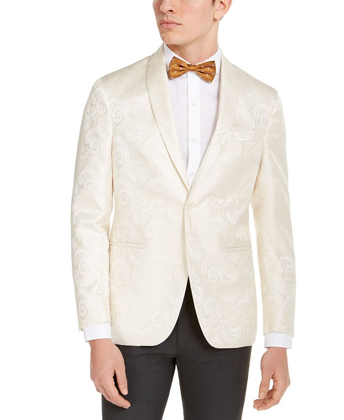 Kenneth Cole Reaction - Men's Slim-Fit Ivory Tonal Paisley Evening Jacket