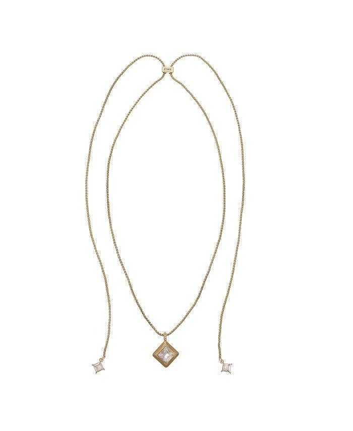 Christian Siriano New York - Gold Tone Adjustable Slider Necklace with Diamond Shape Pendant