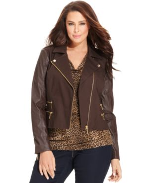 MICHAEL Michael Kors Plus Size Jacket, Mixed-Media Motorcycle