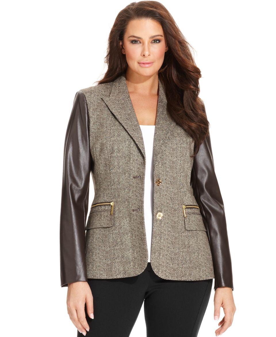 MICHAEL Michael Kors Plus Size Jacket, Herringbone Faux Leather Trim Blazer   Jackets & Blazers   Plus Sizes