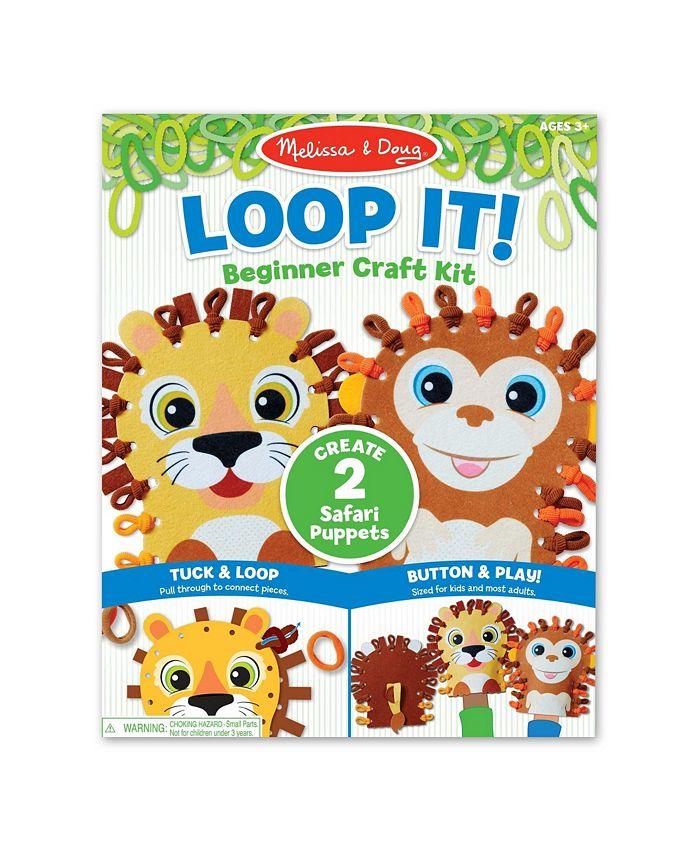 Melissa and Doug - Loop It Safari Puppets Beginner Craft Kit – Lion and Monkey Felt Hand Puppets, 40 Loops