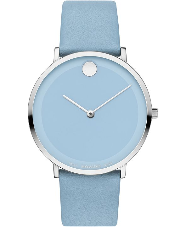 Movado Women's Swiss Modern 47 Blue Leather Strap Watch 40mm, Created for Macy's