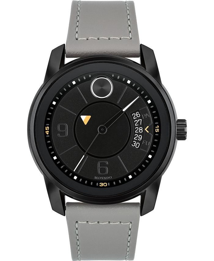 Movado - Men's Swiss Bold Gray Leather Strap Watch 42mm