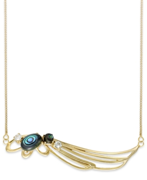 Sis by Simone I Smith 18k Gold over Sterling Silver Necklace, Abalone and Blue Crystal Angel Wing Pendant