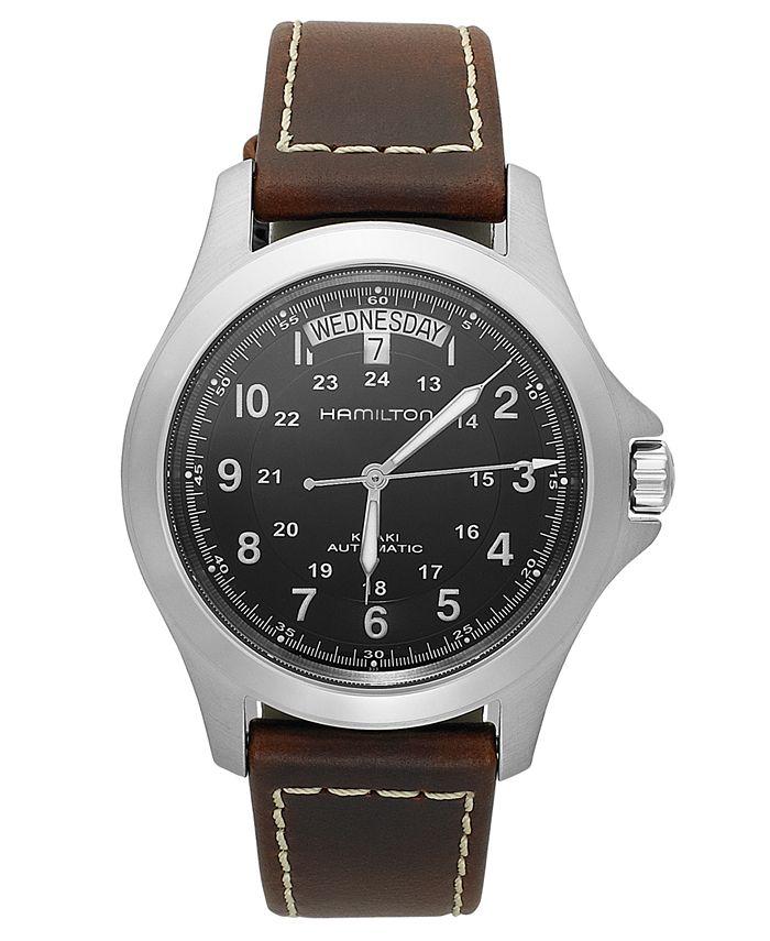 Hamilton - Watch, Men's Swiss Automatic Khaki King Brown Leather Strap 40mm H64455533
