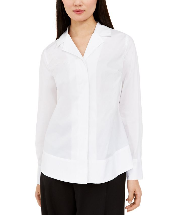 Alfani - Curved-Hem Button-Up Shirt