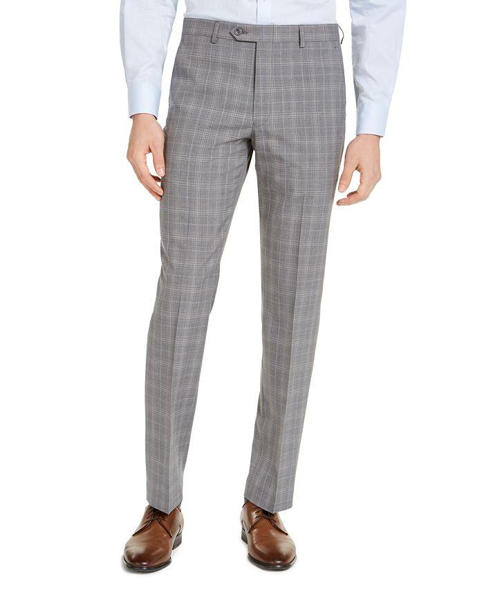 Michael Kors - Men's Classic-Fit Airsoft Stretch Gray Plaid Suit Pants