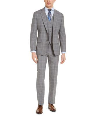 Men's Classic-Fit Airsoft Stretch Gray Plaid Wool Suit Pants