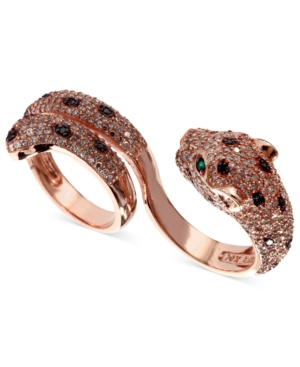 Effy Signature White (1-3/4 ct. t.w.) and Black Diamond (1/8 ct. t.w.) and Emerald Accent Panther 2 Finger Ring in 14k Rose Gold