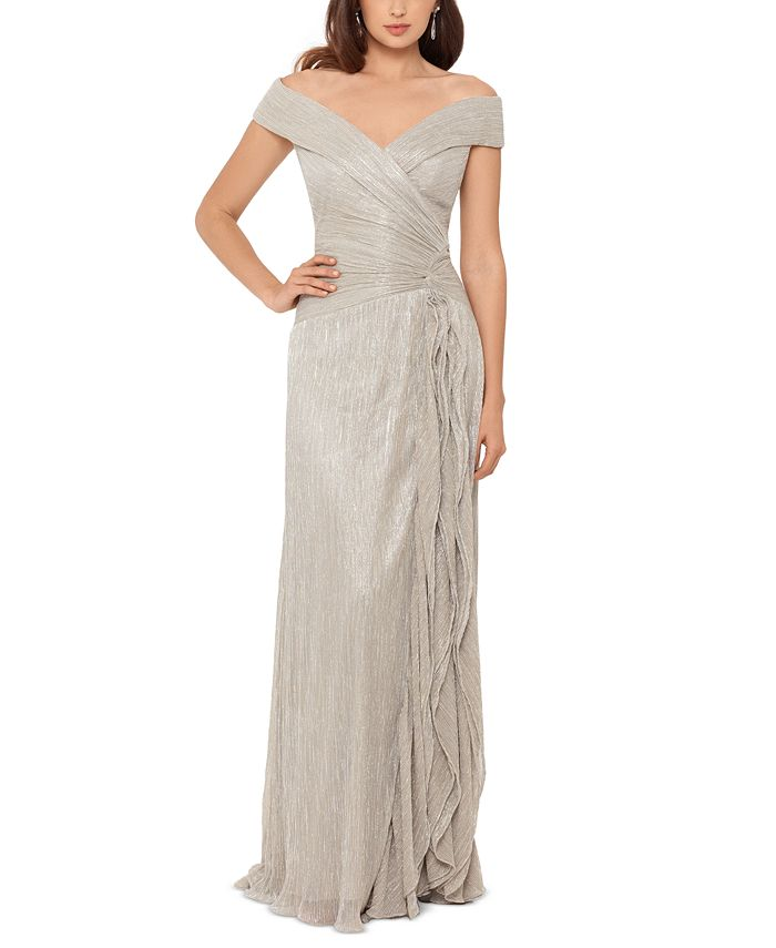 XSCAPE - Off-The-Shoulder Metallic Pleated Gown