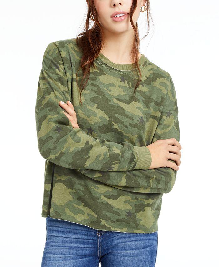 Crave Fame - Juniors' Printed Lace-Up Sweatshirt