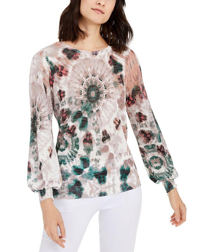 INC International Concepts - Petite Printed Blouson-Sleeve Sweater
