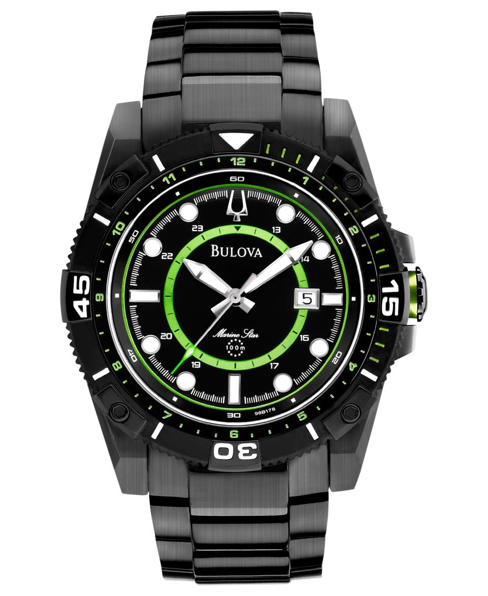 Bulova Mens Marine Star Black Tone Stainless Steel Bracelet Watch 44mm 98B178   Watches   Jewelry & Watches