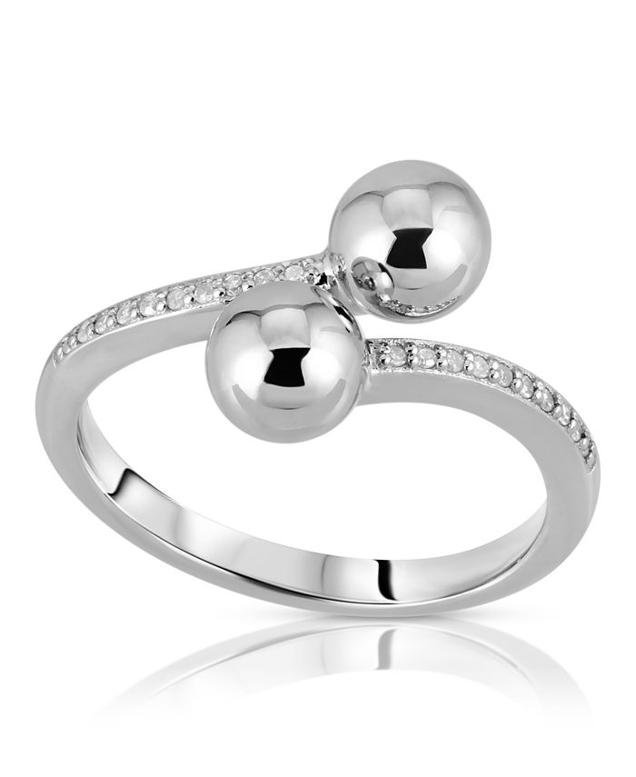 Macy's - Brilliant Bubbles Diamond (1/10 ct. t.w.) Bypass Ring Designed in Sterling Silver, 14k Yellow Gold over Sterling Silver or 14k Rose Gold over Sterling Silver