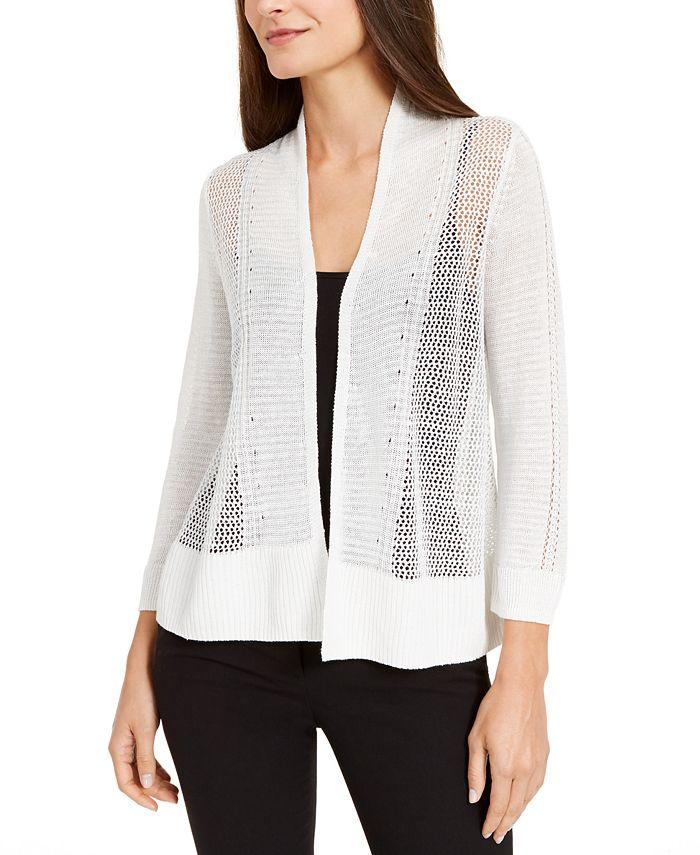 Alfani - Petite Mixed-Knit Open-Front Cardigan