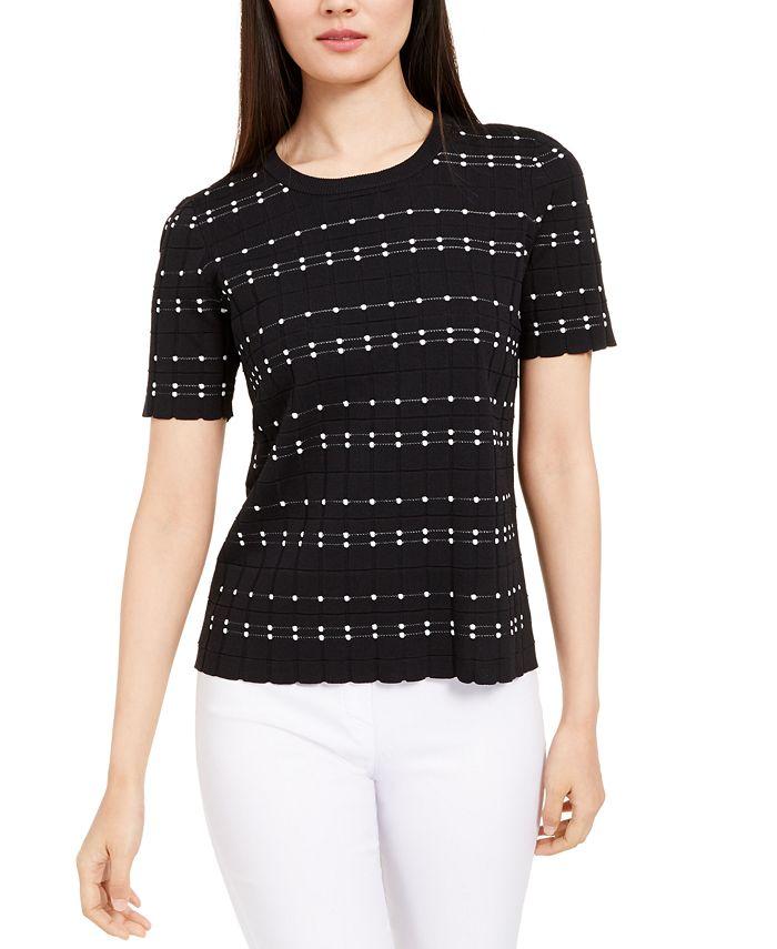 Alfani - Textured Short-Sleeve Sweater