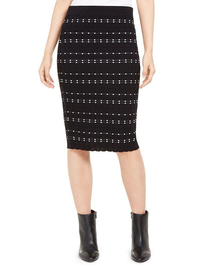 Alfani - Dot-Stitch Pull-On Pencil Skirt