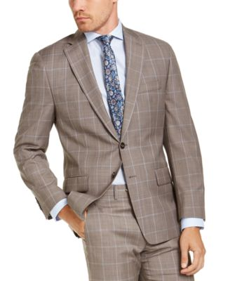 Men's Classic-Fit Airsoft Stretch Brown Windowpane Suit Jacket