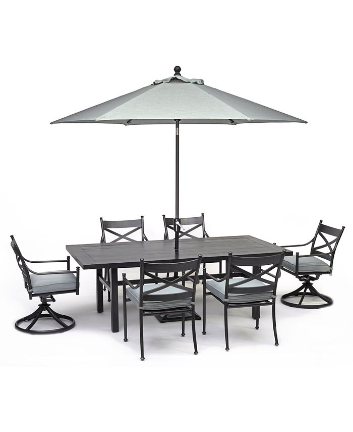 """Furniture - X-Back Outdoor Aluminum 7-Pc. Dining Set (84"""" X 42"""" Table, 4 Dining Chairs & 2 Swivel Chairs) With Sunbrella® Cushions"""