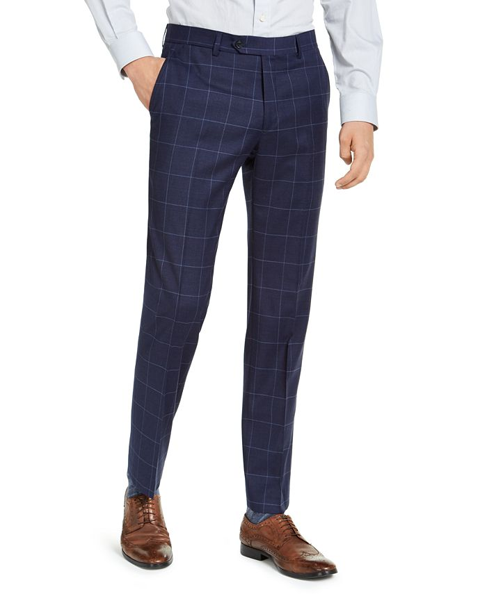 Tommy Hilfiger - Men's Classic-Fit TH Flex Stretch Navy Blue Windowpane Suit Pants