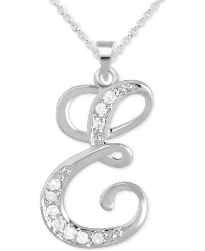 """Macy's - Diamond E Initial 18"""" Pendant Necklace (1/10 ct. t.w.) in Sterling Silver"""