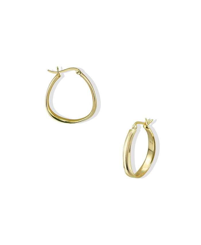 Argento Vivo - Oblong Contour Hoops in 18k Yellow Gold over Sterling Silver