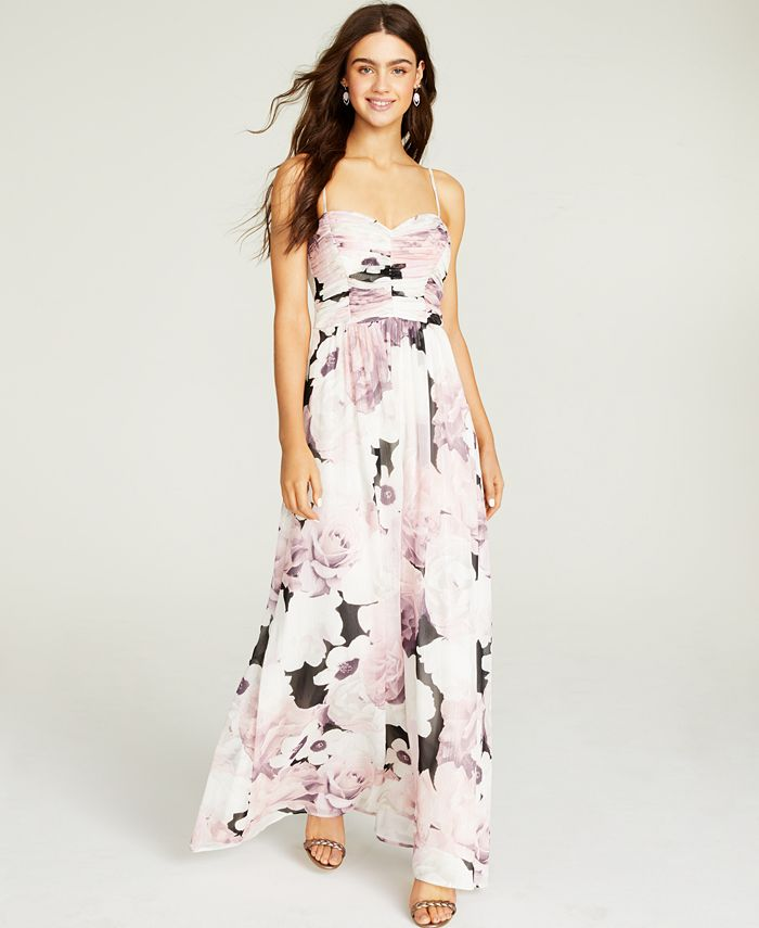 Trixxi - Juniors' Ruched Floral-Print Gown