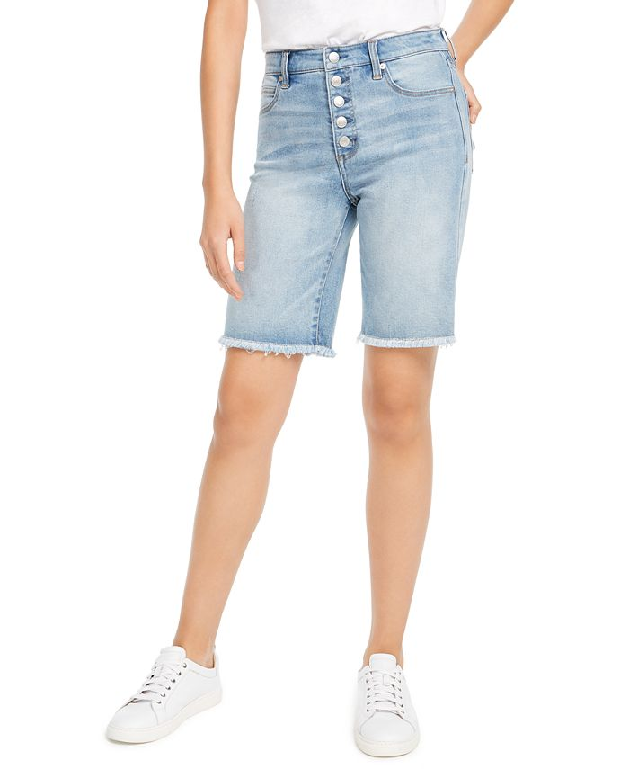 OAT - Button-Front Denim Bermuda Shorts