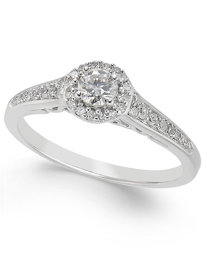 Macy's - Diamond Halo Engagement Ring (3/8 ct. t.w.) in 14k White Gold