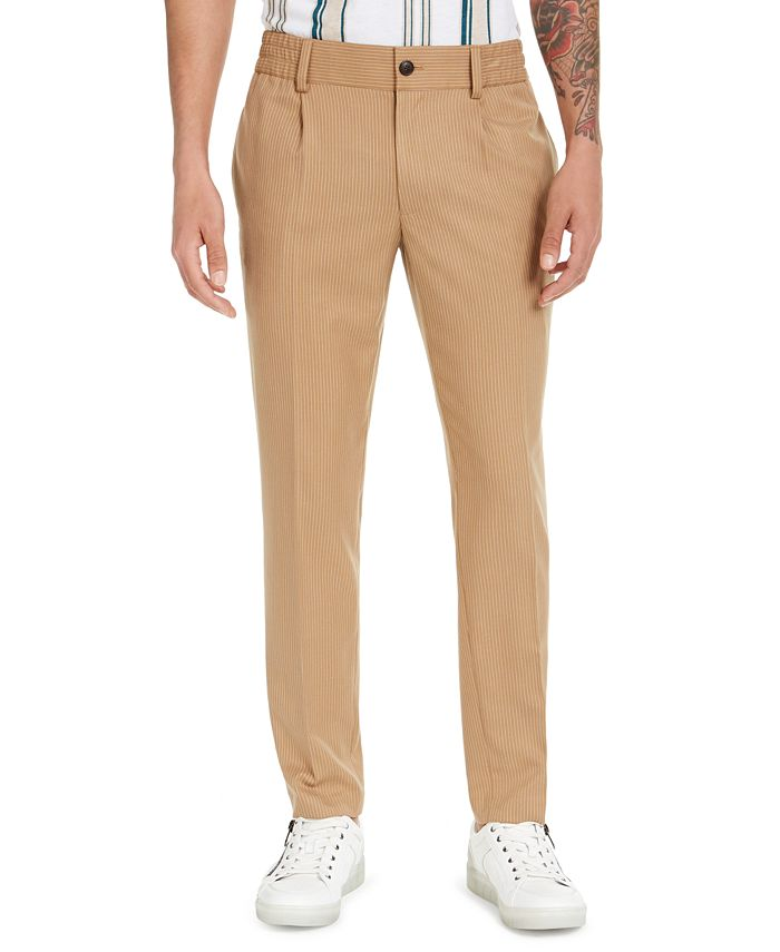 INC International Concepts - Men's Asher Pleated Slim-Fit Pinstripe Pants
