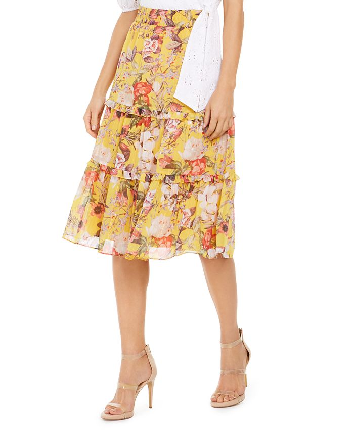 INC International Concepts - Tiered Floral Midi Skirt