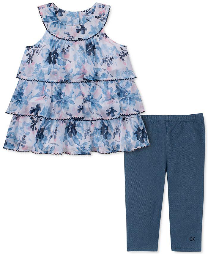 Calvin Klein - Little Girls 2-Pc. Tiered Floral Tunic & Leggings Set