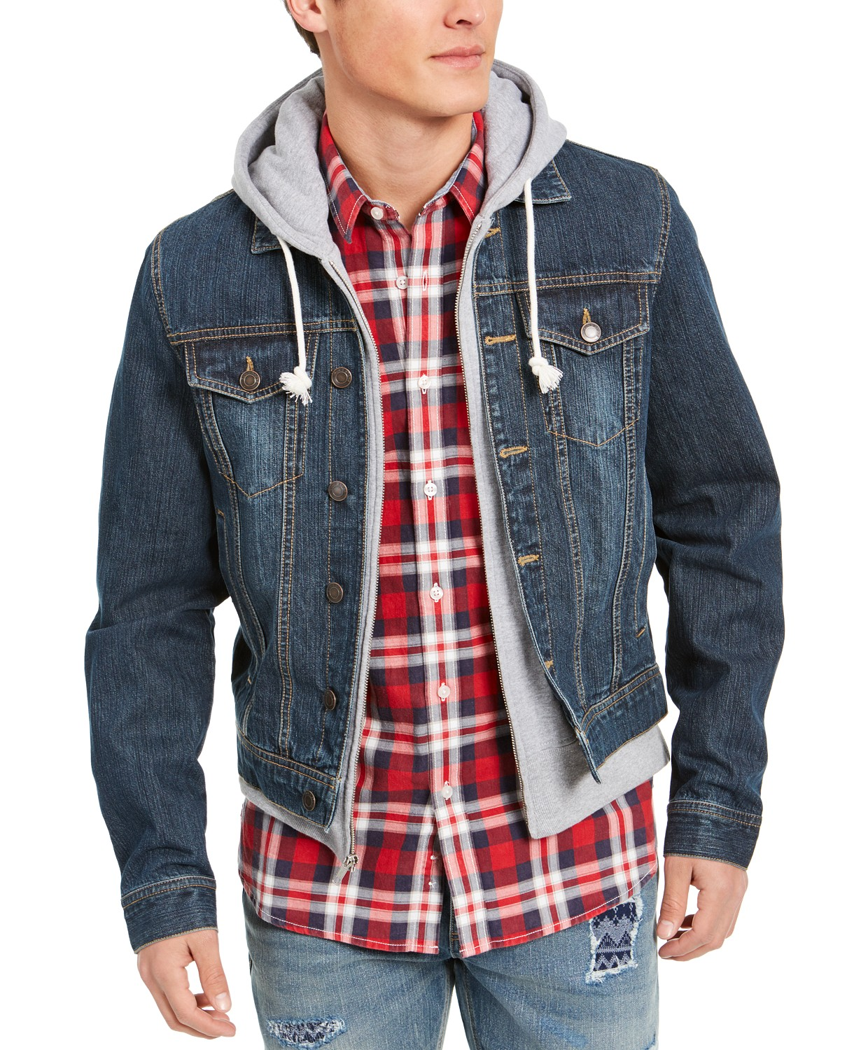 Sun + Stone Men?s Hooded Denim Trucker Jacket (3 styles)