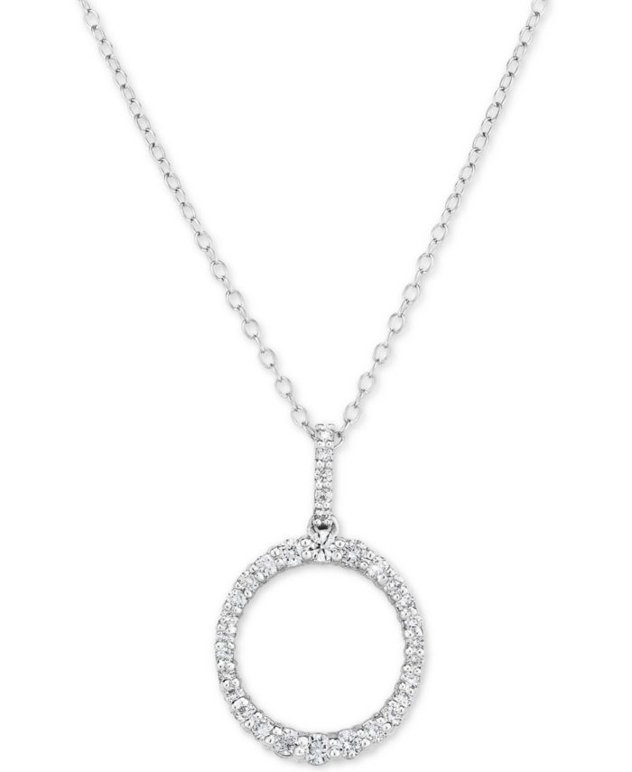 """Forever Grown Diamonds Lab-Created Diamond Ring 18"""" Pendant Necklace (1/2 ct. t.w.) in Sterling Silver & Reviews - Bracelets - Jewelry & Watches - Macy's"""