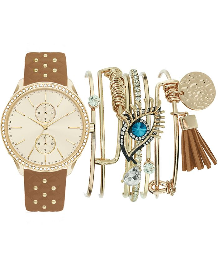 Jessica Carlyle - Women's Beaded Cognac Faux Leather Strap Watch 38mm Gift Set