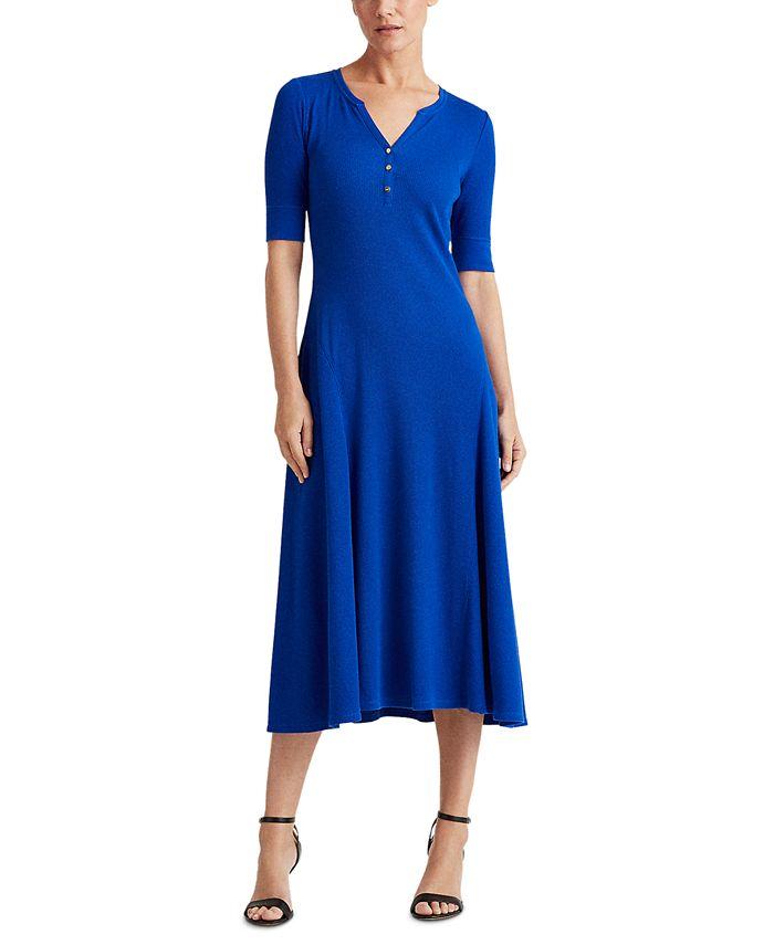 Lauren Ralph Lauren - Waffle-Knit Cotton Fit & Flare Dress