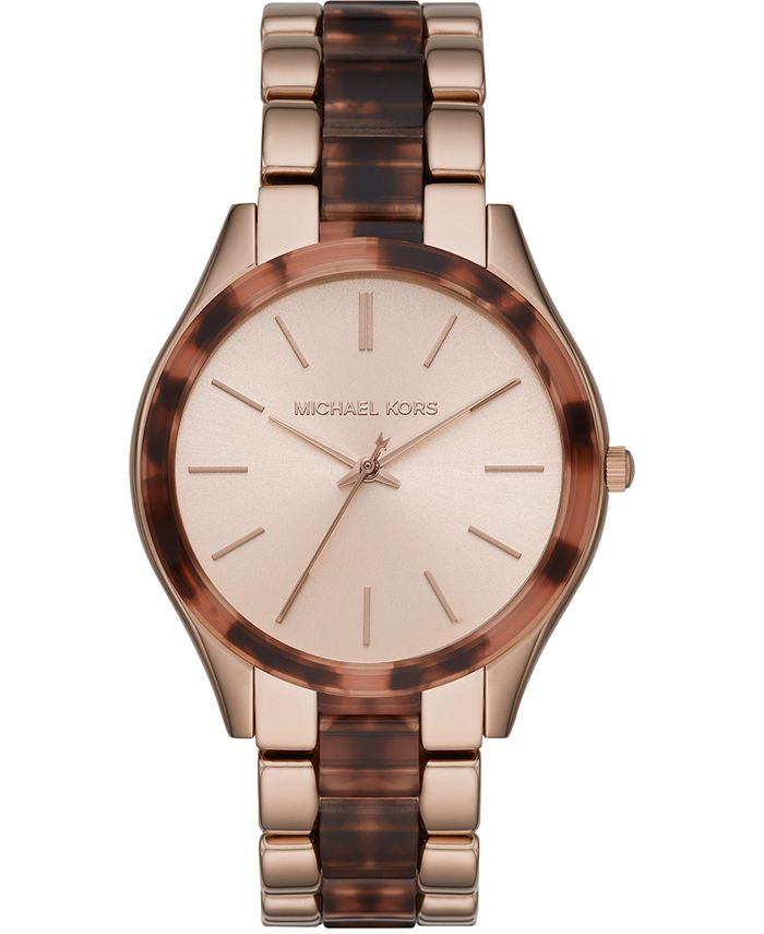 Michael Kors - Women's Slim Runway Tortoise Acetate & Rose Gold-Tone Stainless Steel Bracelet Watch 42mm