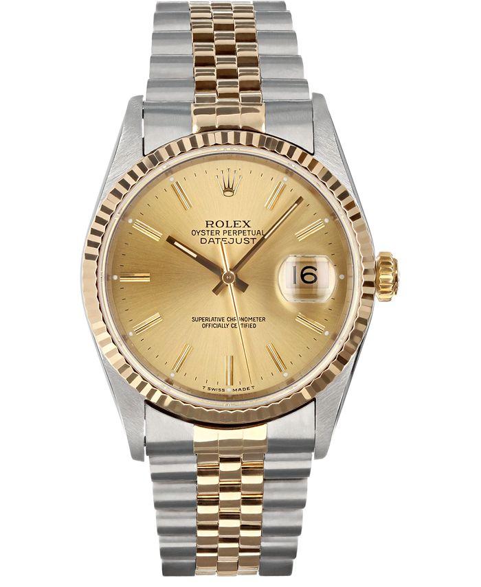 Pre-Owned Rolex - Men's Swiss Automatic Datejust Jubilee 18K Gold & Stainless Steel Bracelet Watch 36mm
