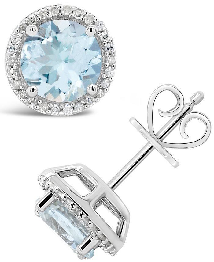 Macy's - Aquamarine (2-1/2 ct. t.w.) and Diamond (1/6 ct. t.w.) Stud Earrings in Sterling Silver