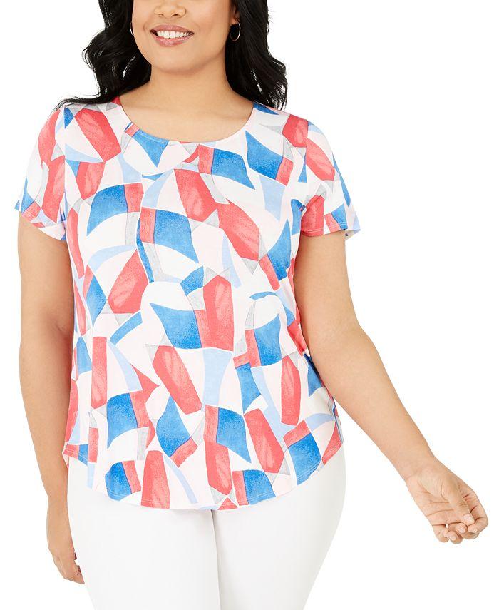 Alfani - Plus Size Floral-Print T-Shirt