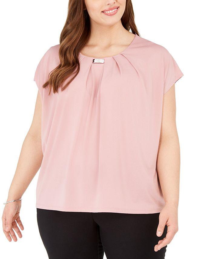 Adrienne Vittadini - Plus Size Knit Crepe Layering Top